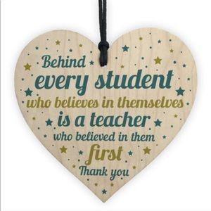 Wooden Heart Teacher Gift Ornament
